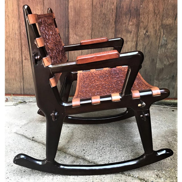 1960s Mid Century Angel Pazmino Sculptural Rosewood Rocking Chair For Sale - Image 5 of 10