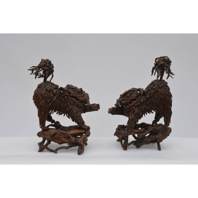 Mid 18th Century Mid 18th Century Chinese Carved Wood Foo Dogs - a Pair For Sale - Image 5 of 6