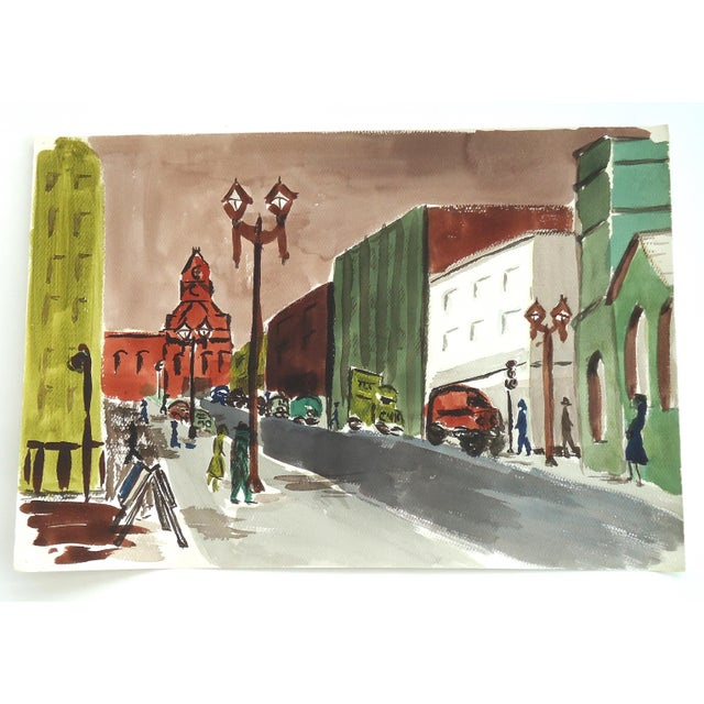 Mid-Century City Scene Watercolor Painting - Image 3 of 3