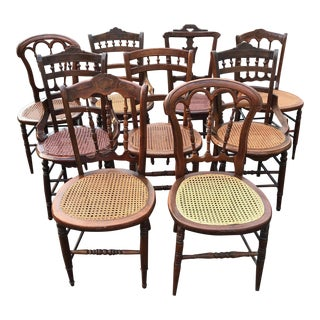 Victorian Walnut Cane Bottom Dining Chairs Dark Brown & Caning - Set of 9 For Sale