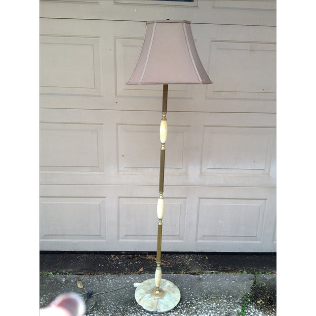 Marble and Brass Floor Lamp - Image 2 of 8