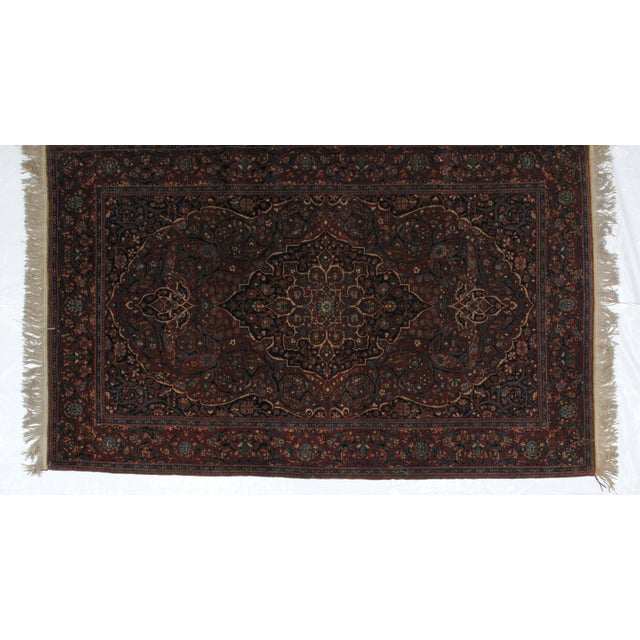 This masterpiece is a wool pile genuine hand woven exceptionally fine antique Persian Mohtasham Kashan in excellent...