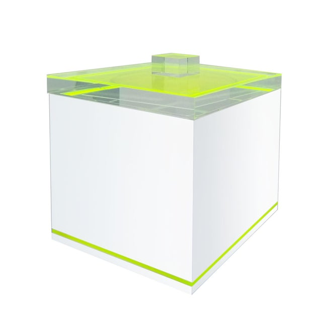 Tinsley Mortimer Fluorescent Neon Yellow and White Lucite Ice Bucket With Lid - Contemporary For Sale - Image 4 of 13