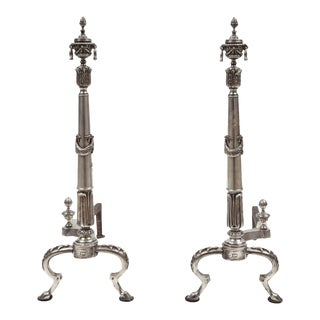 Silver Plate Andirons - A Pair For Sale