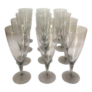 Vintage Smoke Gray Water Crystal Glasses- Set of 12 For Sale