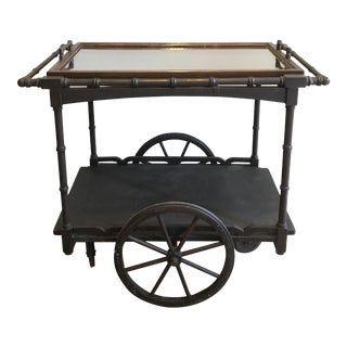 Antique Rustic Wooden Faux Bamboo Tea Serving Cart For Sale