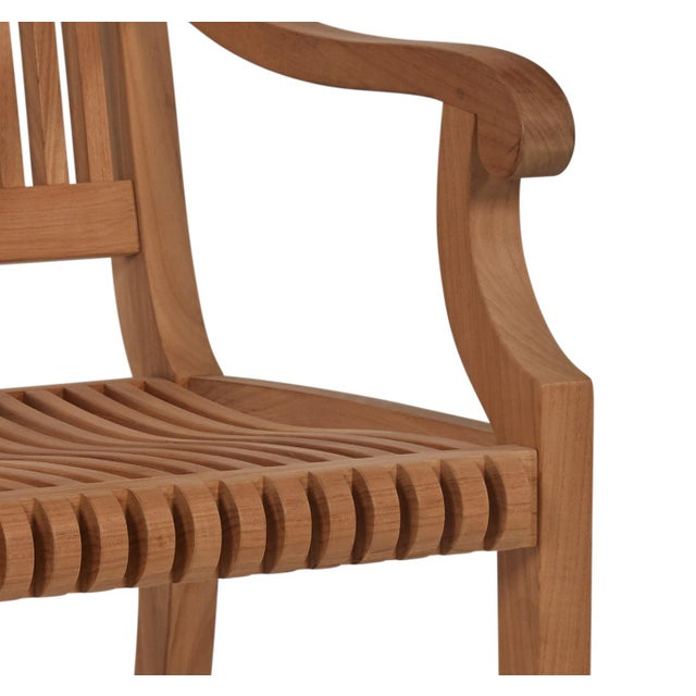 Palm Teak Outdoor Armchair For Sale - Image 9 of 10