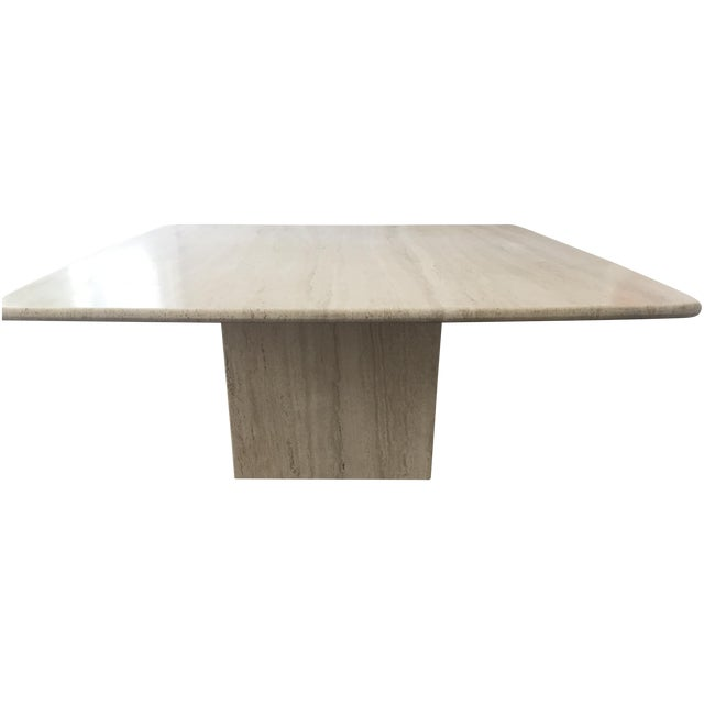 Italian Travertine Marble Coffee Table For Sale