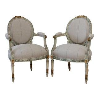 20th Century Louis XVI Style Original Painted Fauteuils in Linen For Sale
