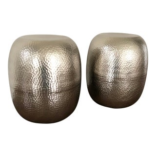 Pair of Hammered Metal Stools For Sale