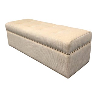 Contemporary Custom Cream Fabric Storage Bench/Ottoman