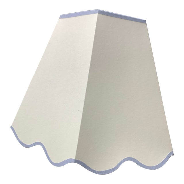 Rita Konig Exclusive Hexagonal Lampshade in Cream with Scalloped Edging For Sale