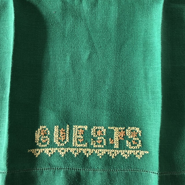 Vintage Green and Yellow Embroidered Guest Linen Towel For Sale - Image 4 of 6