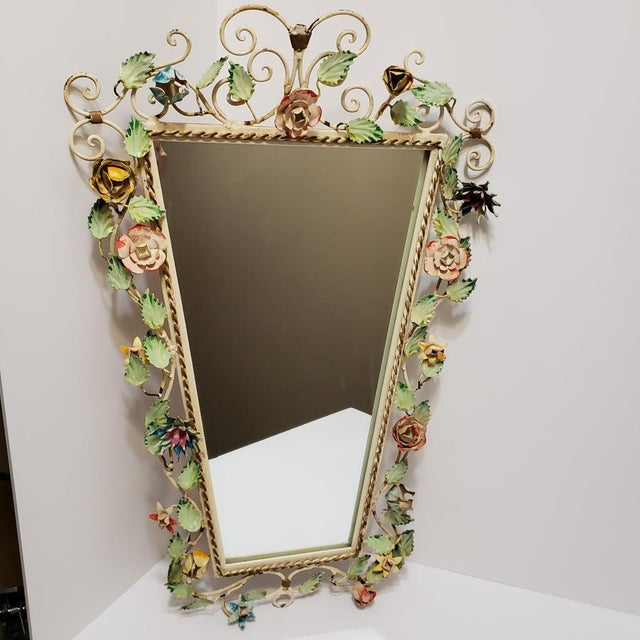 Shabby Chic Vintage Italian Shabby Chic Floral Tole Wall Mirror For Sale - Image 3 of 10