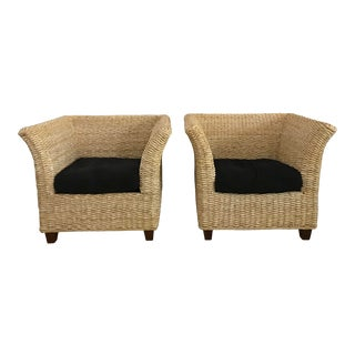 1990s Vintage Natural Woven Chairs- A Pair For Sale