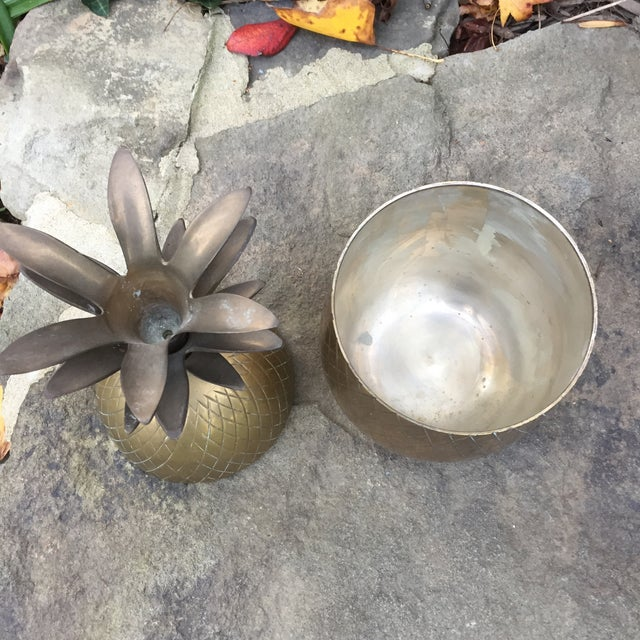 Vintage Large Brass Pineapple Box Container For Sale - Image 5 of 10