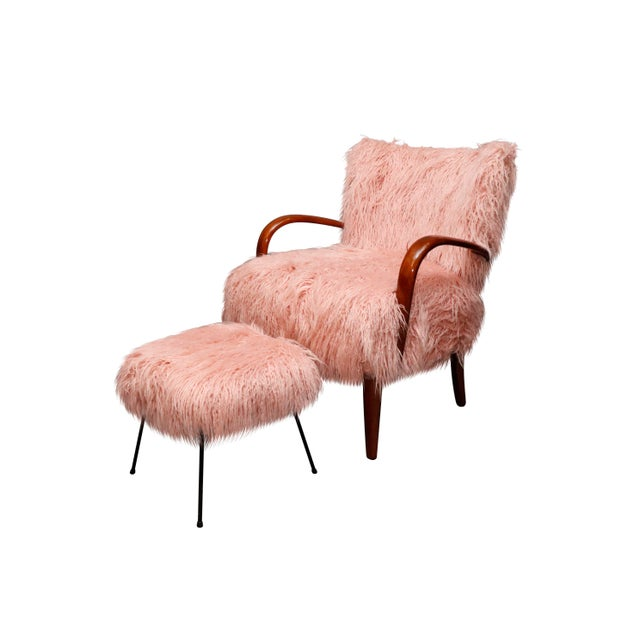 Stunning Mid-Century curated danish curved arm lounge chair with pink Mongolian faux fur Comfy & Sturdy Dimensions: arm to...