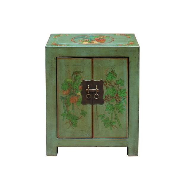 This is a handmade Chinese oriental end table nightstand with two doors. The surface is finished with distressed light...