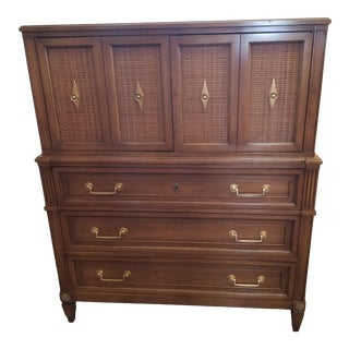 1960s Dixon Powdermaker Mid Century Magnolia Wood Highboy For Sale