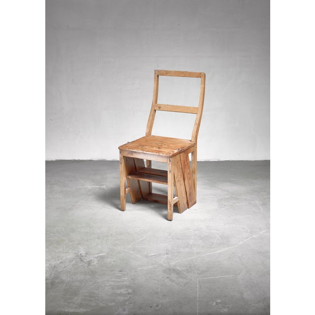 Swedish 19th Century Step Chair in Pine For Sale - Image 4 of 5
