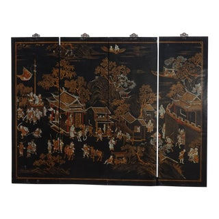 Antique Oriental Asian Black Four Screen Panel Picture Screen ~ Chinese Japanese For Sale