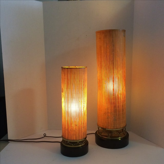 Mid Century Lamps, Painted Bamboo Shades - Pair - Image 11 of 11