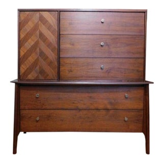 Mid Century Modern Black Walnut Curved Front Armoire Dresser Cabinet For Sale