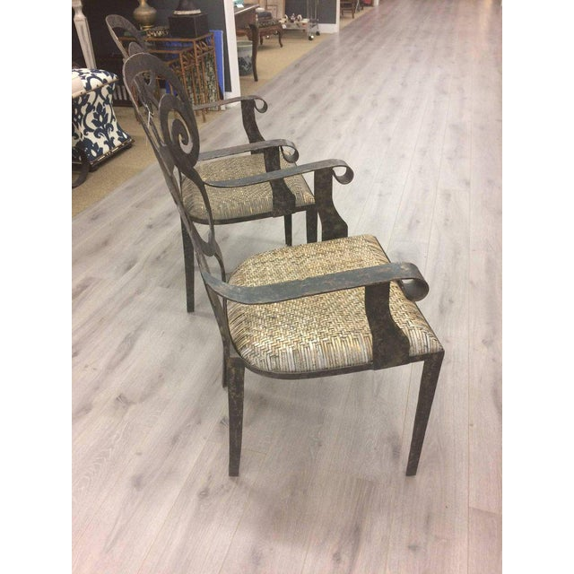 Metal Hand-Forged Iron & Rattan Armchairs - a Pair For Sale - Image 7 of 13