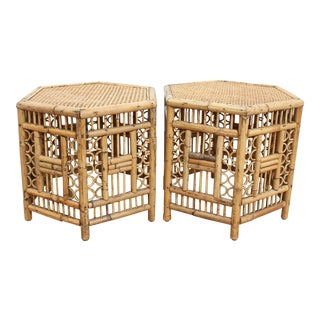 Chinese Chippendale Hexagonal Side Tables- Brighton Pavilion Pair For Sale