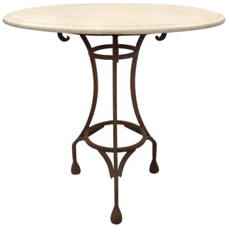 Wrought Iron Bistro Table With a Stone Top For Sale
