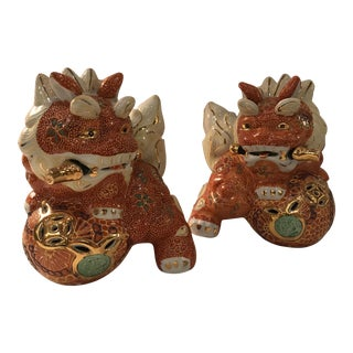 Vintage Foo Dog Figurines - a Pair For Sale