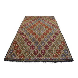 Vintage Turkish Kilim Rug Hand Woven Braided Jajim Rug - 66″ X 116″ For Sale