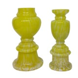 Image of Vintage Czech Yellow Art Glass Vases - a Pair For Sale
