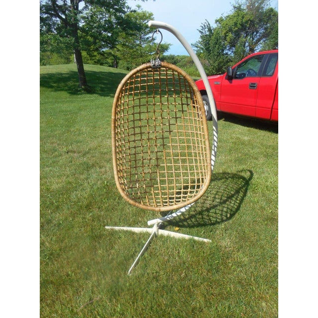 Mid-Century Modern Mid-Century Modern Rattan Hanging Egg Chair For Sale - Image 3 of 5