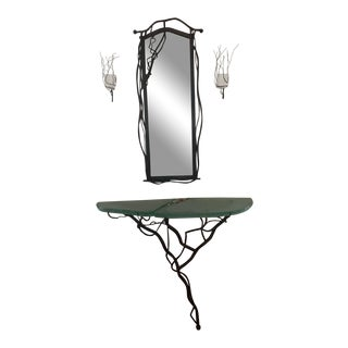 Custom Iron Mirror and Glass Table For Sale