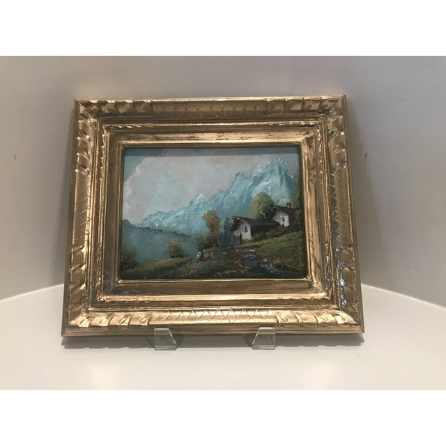 """This is a framed landscape painting by artist M. Rosselli. The piece was made in the mid 20th century. 9 1/2"""" W X 7 1/2"""" H..."""