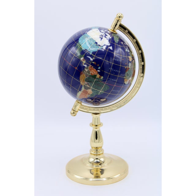 Vintage Blue Lapis World Gold With Semiprecious Gems on Brass Stand For Sale - Image 13 of 13