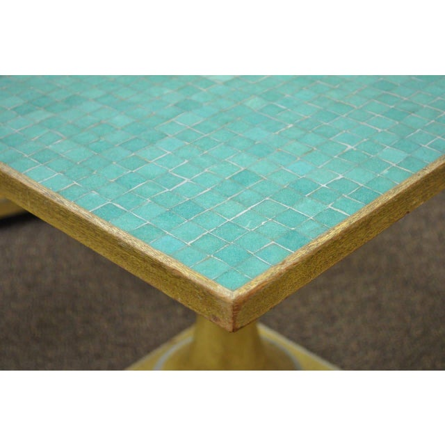 1950s 1950s Italian Carved Wood Blue Tile Top Pineapple Pedestal Tables - a Pair For Sale - Image 5 of 10