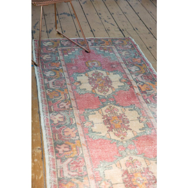 "1960s Vintage Distressed Oushak Rug Runner - 3' X 9'8"" For Sale - Image 5 of 12"