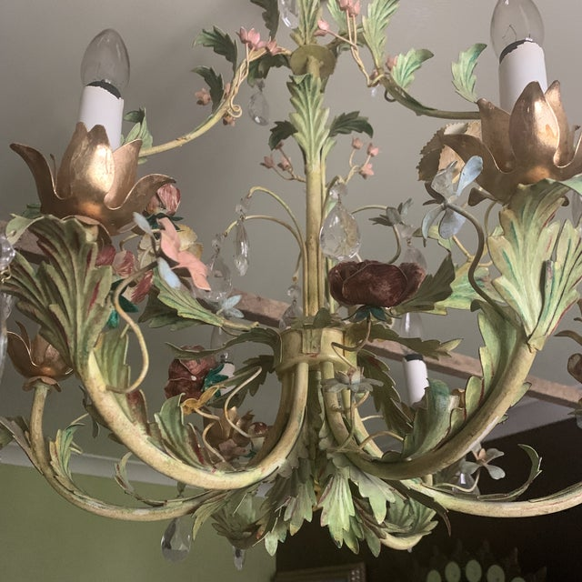 Green Iron Floral Chandelier For Sale - Image 12 of 13