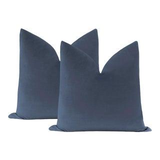"""22"""" Capri Blue Velvet Pillows - a Pair For Sale"""