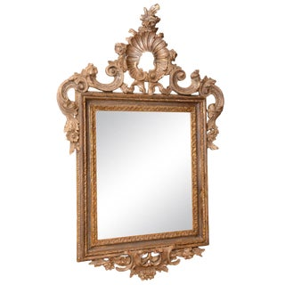 18th Century Italian Carved Silver Giltwood Mirror For Sale