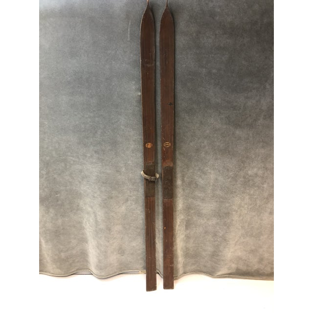 Vintage Rustic Wood Skis - a Pair For Sale - Image 13 of 13