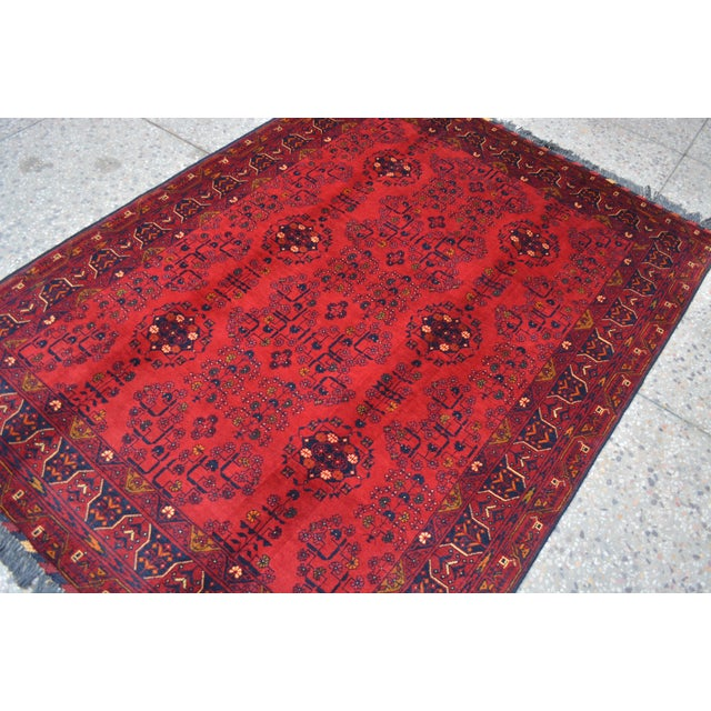 Afghan Tribal Red Rug For Sale - Image 4 of 9