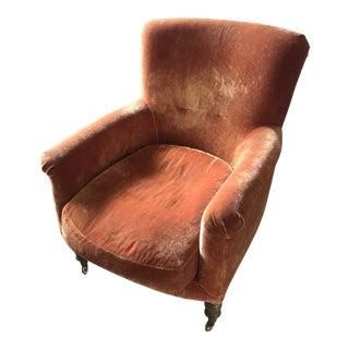 Crushed Velvet Orange Armchair For Sale
