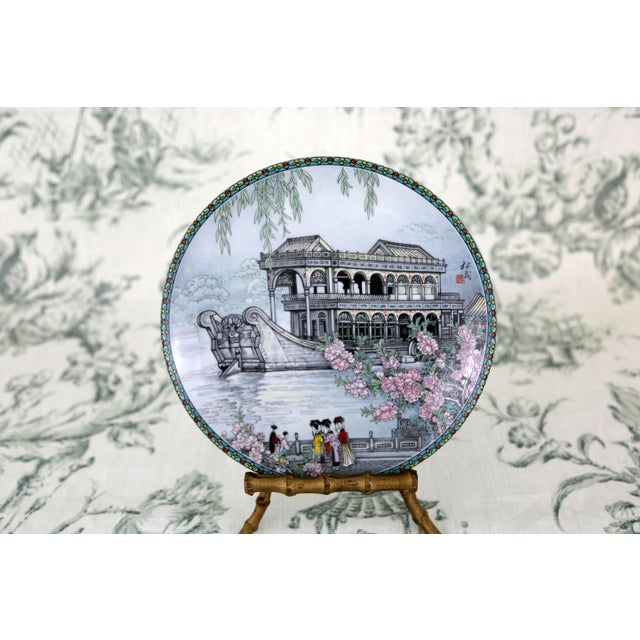 """""""Scenes From the Summer Palace"""" Imperial Jingdezhen Porcelain Collector Plates - Set of 7 For Sale In Tampa - Image 6 of 13"""