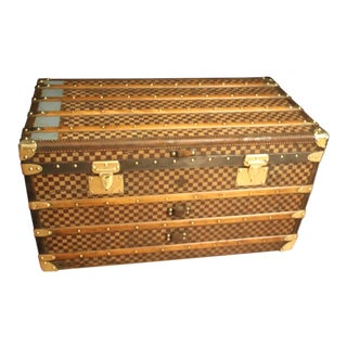 1930s Moynat Checkers Canvas Steamer Trunk For Sale