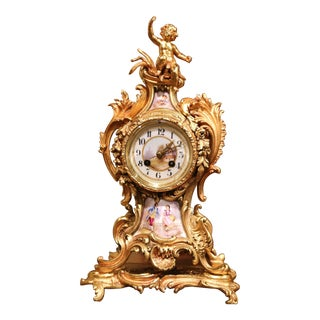 19th Century French Louis XV Rococo Bronze Dore and Porcelain Mantel Clock For Sale