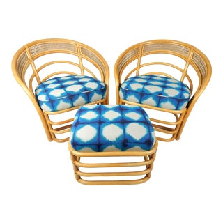 Natural Rattan Chairs & Ottoman, 3pcs For Sale