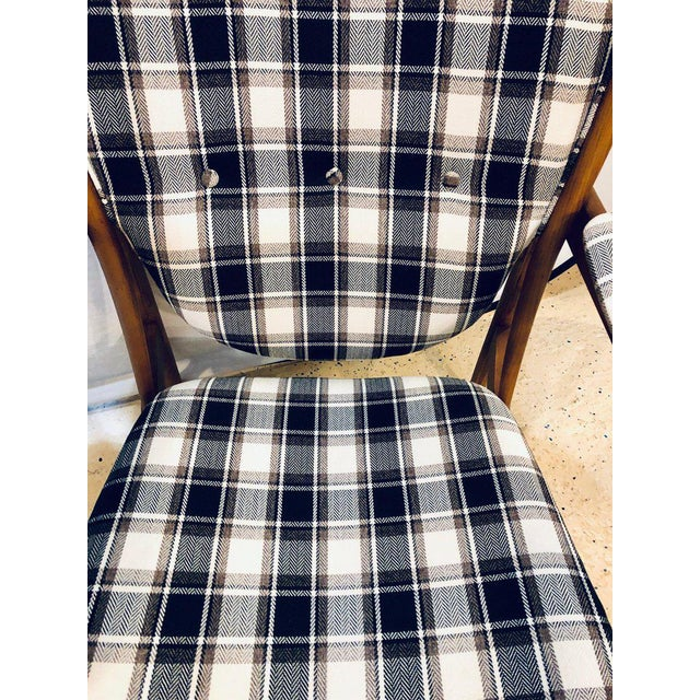 Fabric Pair of Mid-Century Modern Style Plaid Fabric Lounge Chairs With Ottomans For Sale - Image 7 of 12